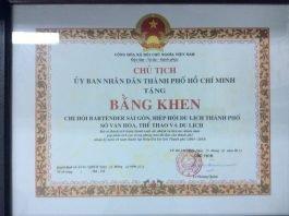 """Bằng Khen của """"Ủy Ban Nhân Dân Thành Phố Hồ Chí Minh"""""""
