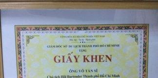 """Giấy Khen """"Sở Du Lịch Thành Phố Hồ Chí Minh"""""""